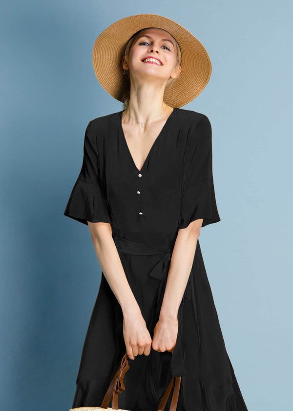 Ruffle Trim V Neck Black Silk Dress