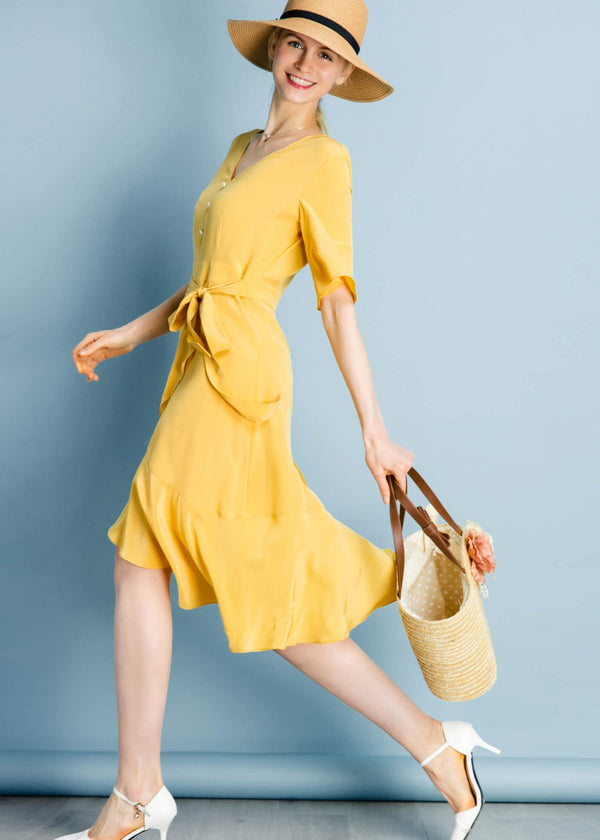 Ruffle Trim V Neck Ginger Silk Dress