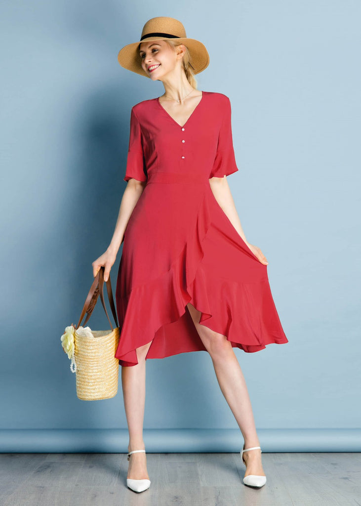 Ruffle Trim V Neck Red Silk Dress