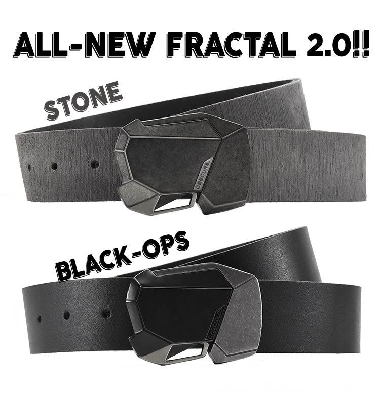 the new and improved Fractal belt buckle in two great finishes - distressed stone and stealthy black ops