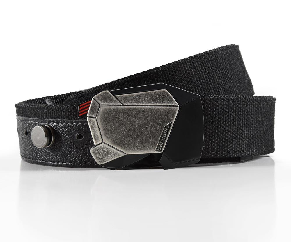 jet fractal belt buckle on heavy duty canvas belt strap