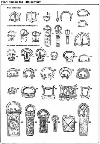 diagram of ancient belt buckles from around the world in the Roman Empire