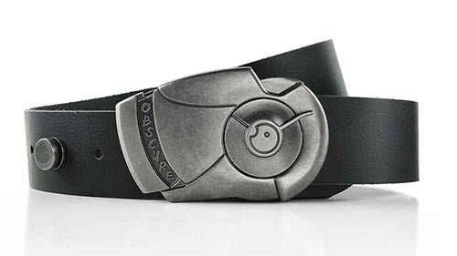 Android cool locking magnetic belt buckle. Made to order vegetable tanned leather belts. Functional wearable art. Mens belts.