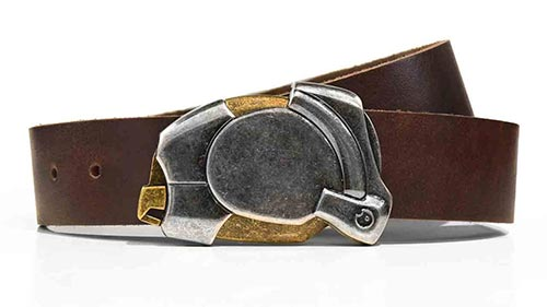 Enigma steampunk ninja belt buckle. Full grain leather belt for jeans. Click button to open. Mysterious magnetic design.