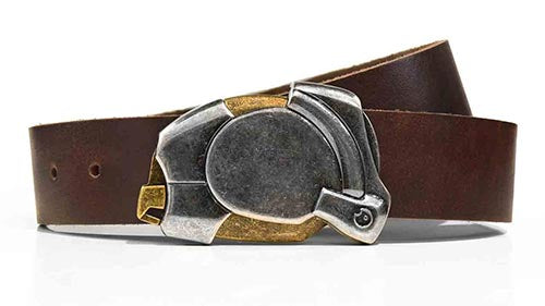 Enigma steampunk ninja belt buckle. Full grain leather belt for jeans. Click button to open. Mysterious mechanical design.