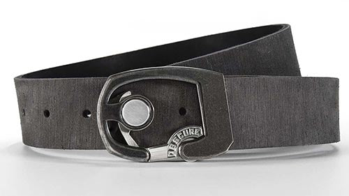 Skeleton belt buckle on American leather belt strap. Click button to open. Simple minimalist belt design. Kickstarter belt
