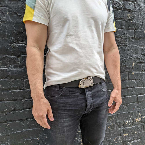 guys wear the enigma steampunk belt buckle with denim jeans and a cool t-shirt