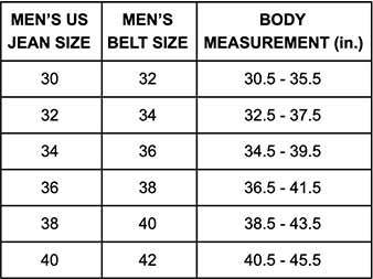 men's belt sizing chart
