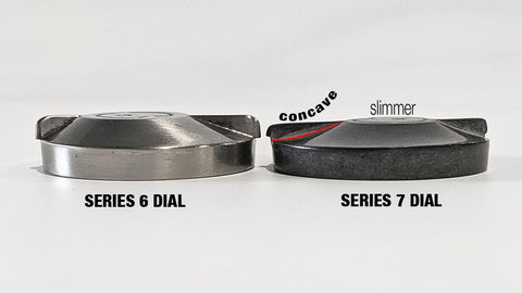 side-by-side comparison of the Series 6 and Series 7 Dial center turning piece. The new piece has a slimmer profile and complex concave shape.