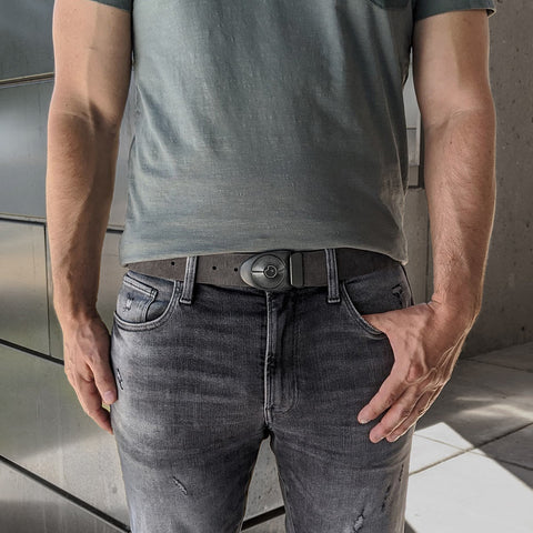 Product: Stone Dial on Distressed Grey Leather Belt. Price: $105. The buckle color looks great with denim pants.