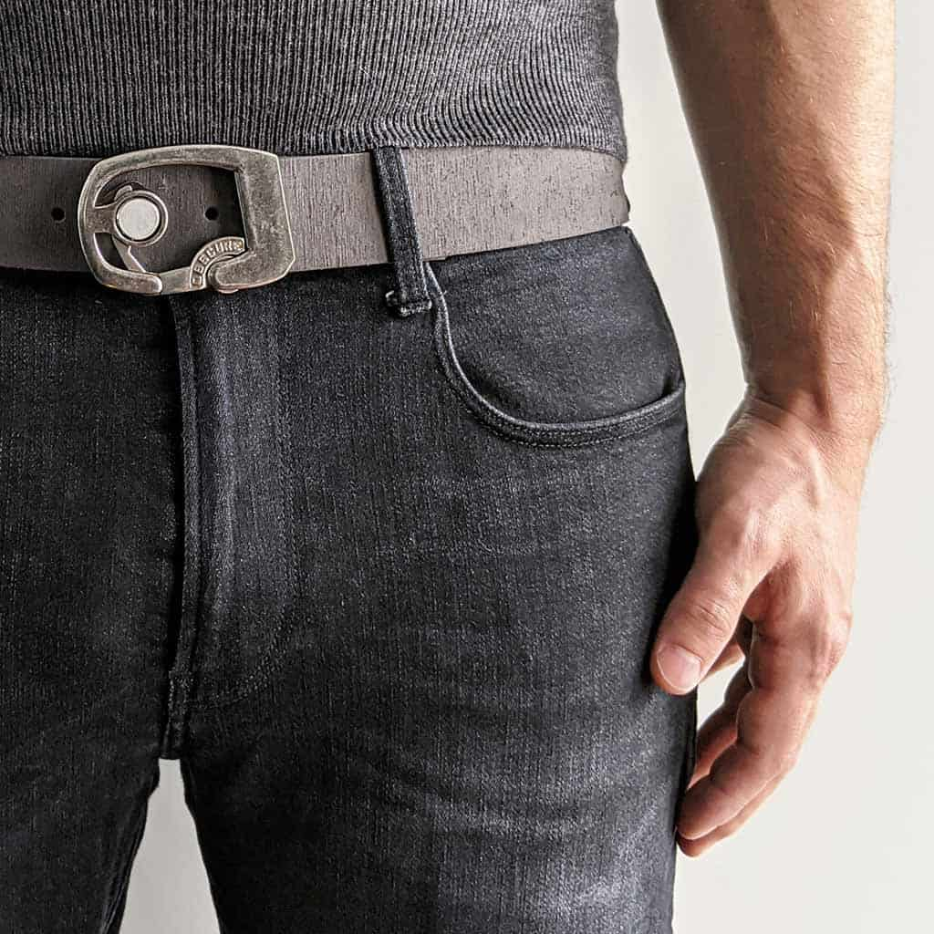 Skeleton belt buckle on high quality leather belt strap. Click button to open. Simple minimalist belt design. Kickstarter