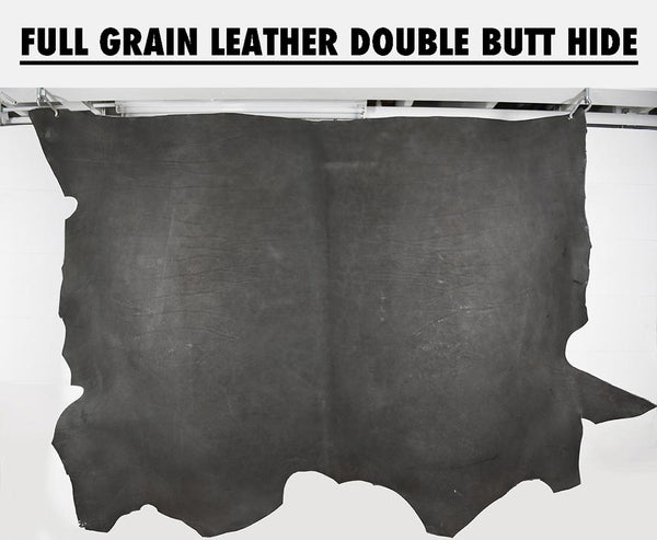 Hanging slate grey full grain leather double butt cow hide showing natural variations in the leather