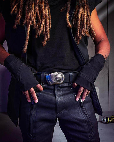 Crisiswear's futuristic Netrunner MKII pants and jackets look beautiful with the Android belt buckle. Price: $105