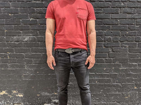 the excalibur belt worn with denim trousers is a great style for utilitarian fashion. price $105