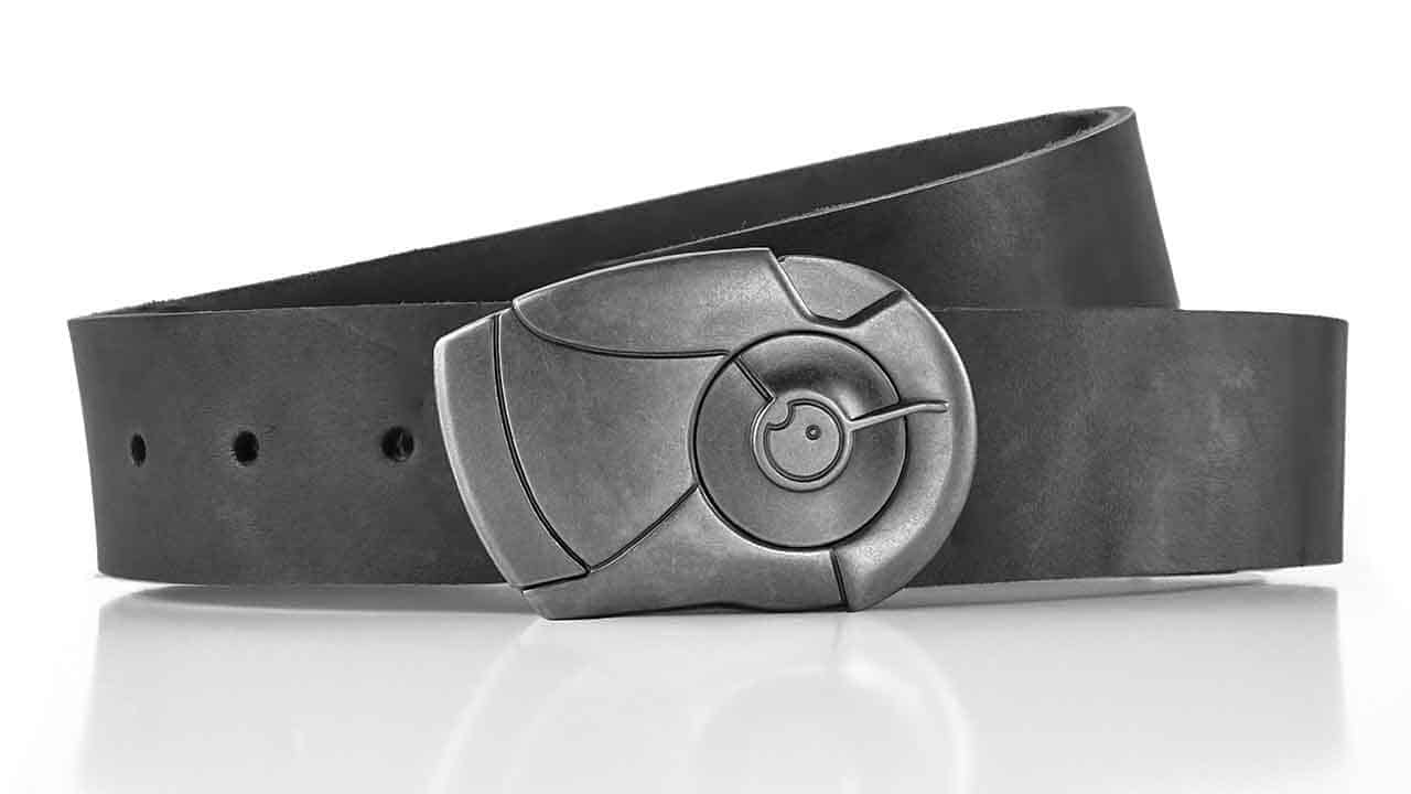 Android belt buckle with cool locking click belt. Slate grey full grain leather belt. Cyberpunk style. Unique men's belts.