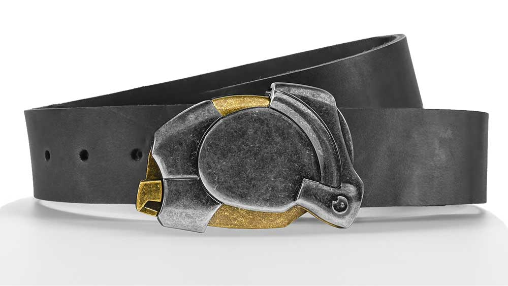 Enigma futuristic magnetic ninja buckle on slate grey American Leather. Custom belt sizes made to order. bifl edc click belt