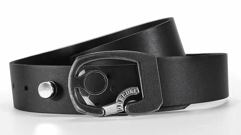 the Skeleton on Black Leather is a cool minimalist belt for jeans. push the button to unlock your belt