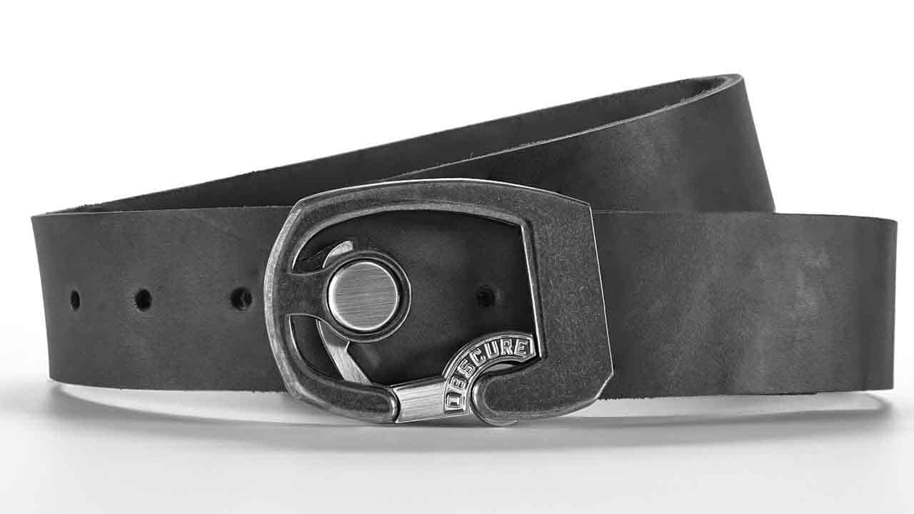 Skeleton gunmetal belt buckle on slate grey full grain leather belt strap. Click button to open. Elegant minimalist design.