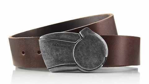 distressed gunmetal Sundial Belt buckle on one-and-a-half inch wide casual brown leather belt