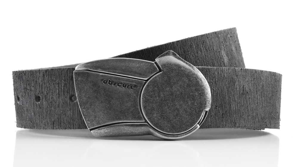 Gunmetal Sundial retro futuristic magnetic belt buckle. Turn to click belt open. Distressed grey veg tan leather belt strap.
