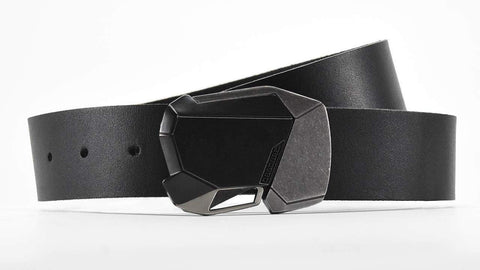 the black-ops fractal belt buckle on black leather belt looks stealthy and cool with futuristic clothing.