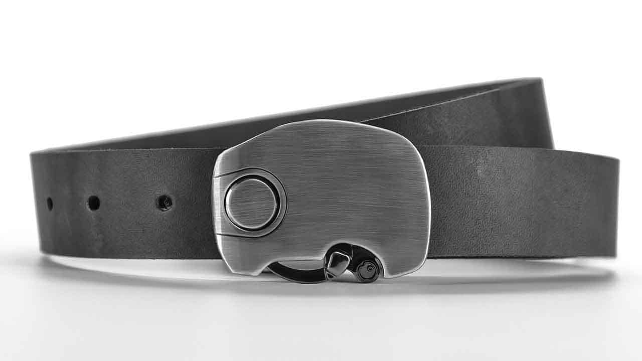 Micron understated elegant minimalist dress belt. Click magnetic locking belt buckle. Slate grey full grain leather belts.