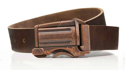 Rustic Outlaw on Brown Leather - closed
