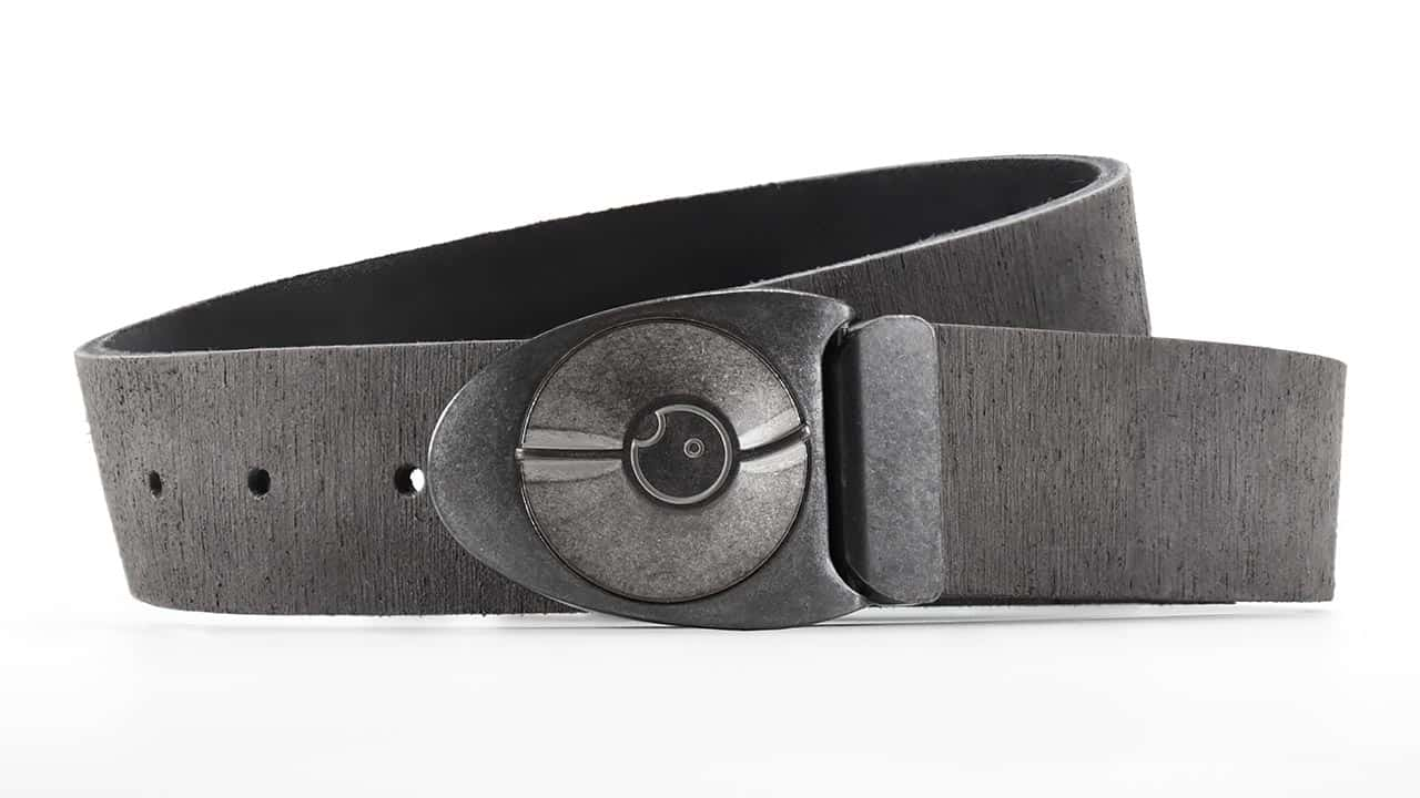 Stone off-white Dial 7 belt buckle turns like a safe lock. Grey distressed American leather. Custom belt sizes. Bifl edc belt