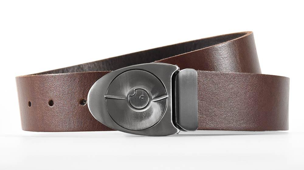 Gunmetal Dial 7 belt buckle snaps open like safe lock. Full grain American brown leather. Made to order belt sizes. bifl edc