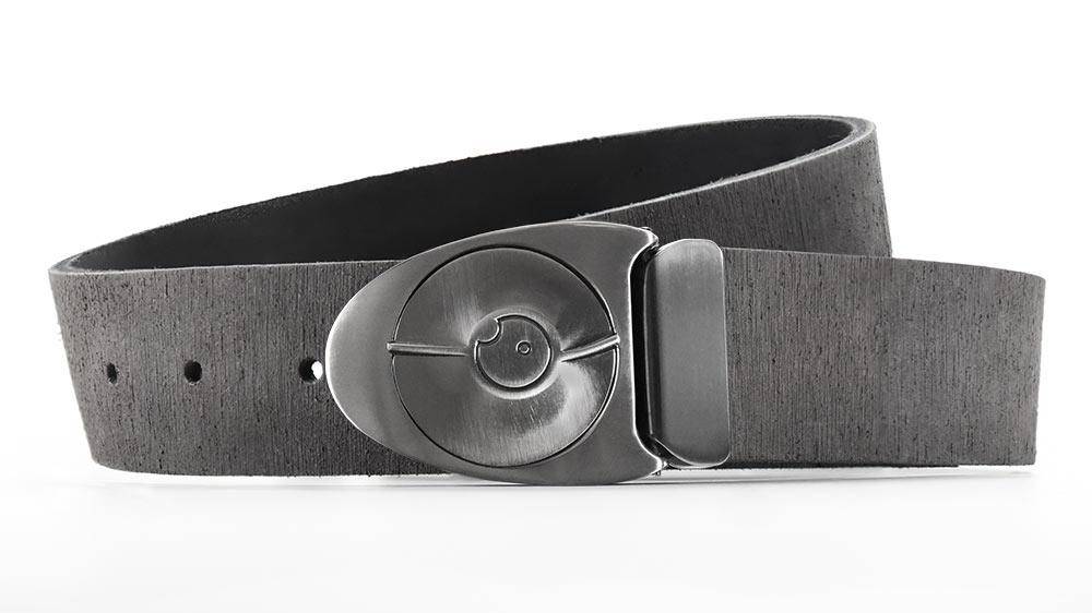 Retro futuristic gunmetal belt buckle snaps like safe lock. Distressed grey American leather belts made to order. bifl edc belt