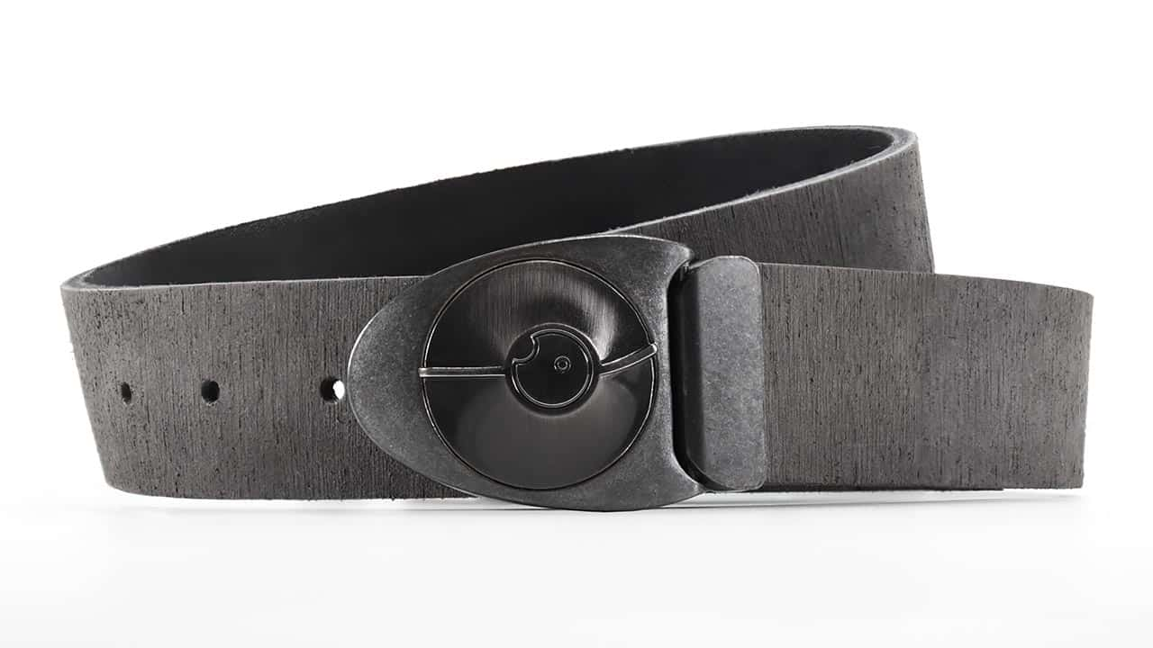 Series 7 Dial in an industrial Space-age Stone and Satin gunmetal finish on Gray Rough Rider distressed Leather Belt. Turn the dial to unlock. Adjustable belt with custom sizes available.