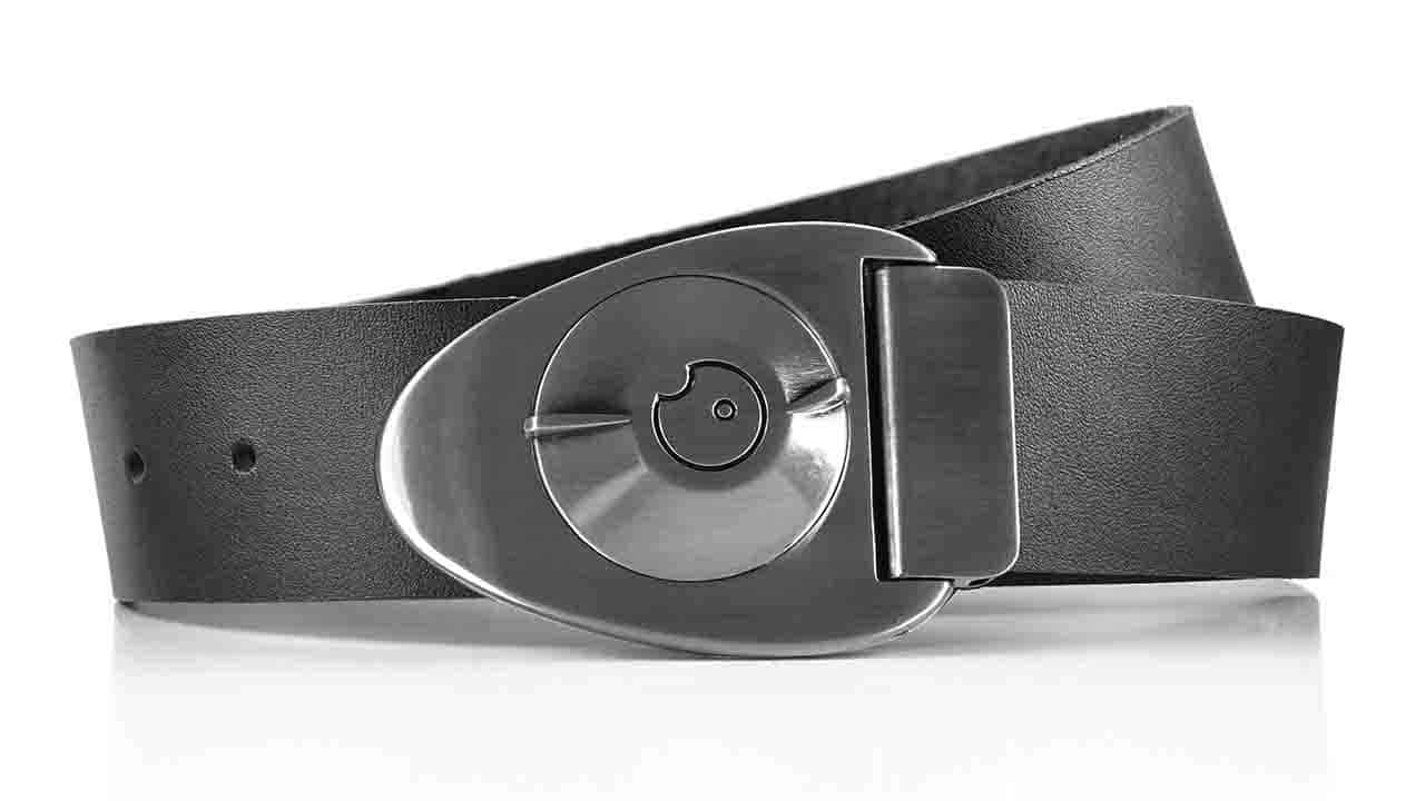 Satin Gunmetal Dial on Black full-grain leather belt - closed