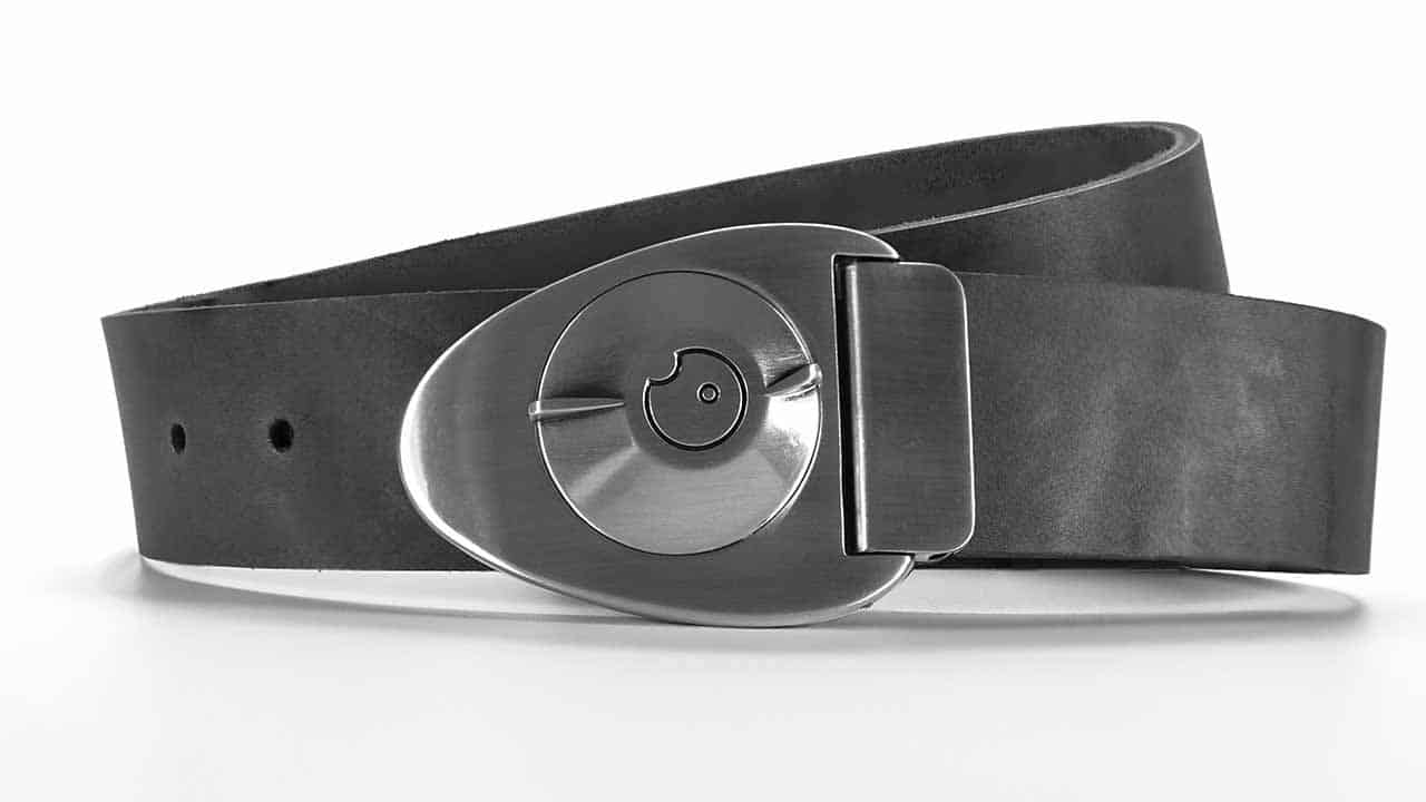 Satin Gunmetal Dial Buckle on Slate Gray full-grain natural leather - closed