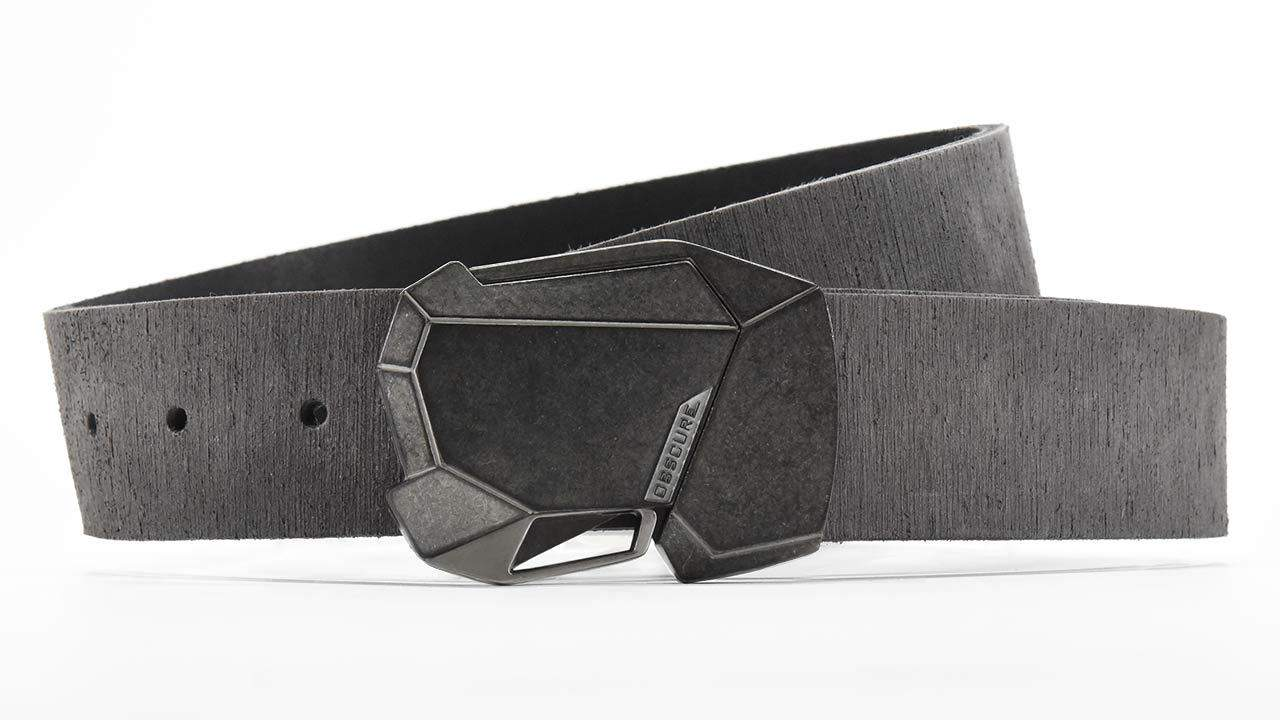 Stone Fractal cool magnetic click belt buckle. Distressed grey American leather belt strap. Retro futuristic ninja belt. BIFL