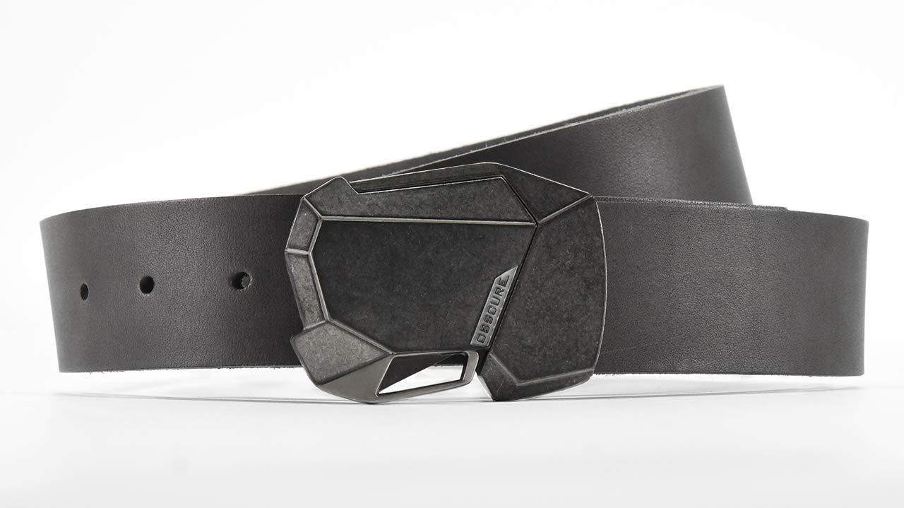 Stone Fractal cool magnetic click belt buckle. Slate grey full grain American leather belt strap. Retro futuristic ninja belt.