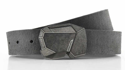 Stone Fractal on Grey Rough Rider Leather - closed