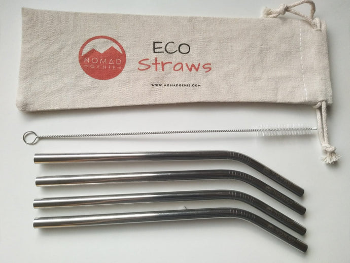 Silver Curved Metal Drinking Straw