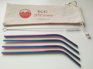 Rainbow Metal Drinking Straw 6mm CURVED