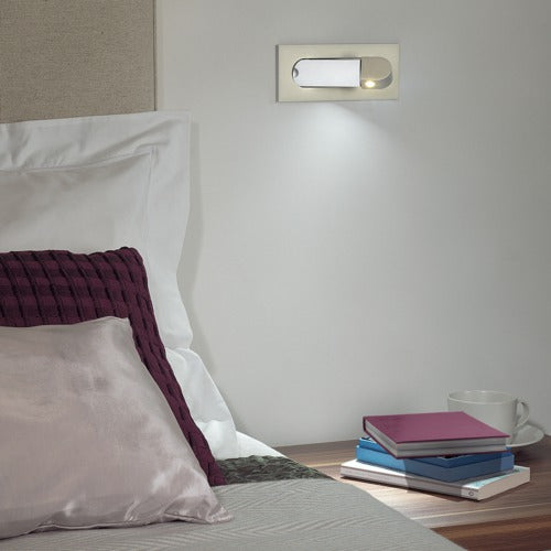 Recessed led reading light mounted beside bed