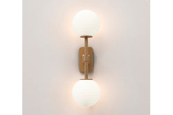 Tacoma Twin + White Opal Ribbed Glass Shades
