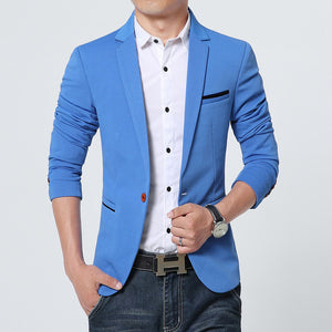 New Arrival! Luxury Men Fashion Brand High Quality Cotton Blazer