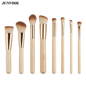 8pc Bamboo Makeup Brushes Natural Soft Bristles