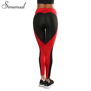 Heart Pattern Mesh Splice Leggings Women Pants/HIgh Demand