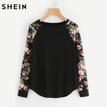 SHEIN Womens T shirts Casual Ladies Black Long Sleeve T shirt