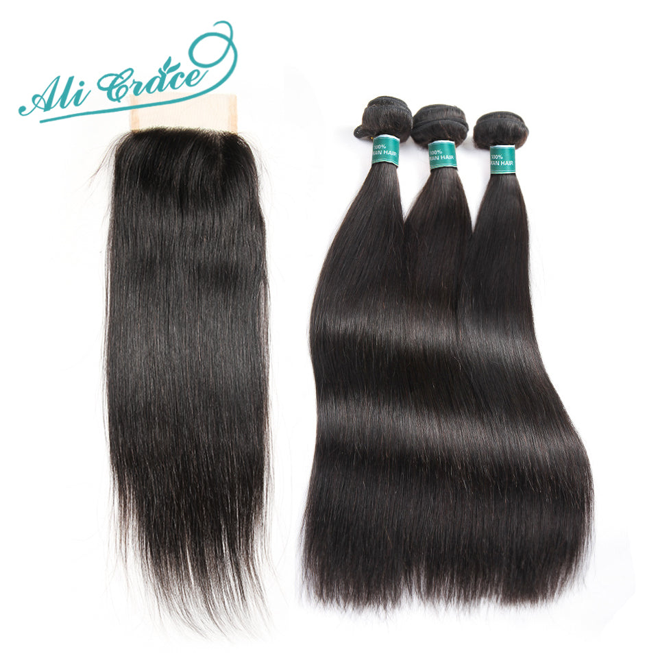 Ali Grace Hair Brazilian Straight Human Hair 3 Bundle Deal