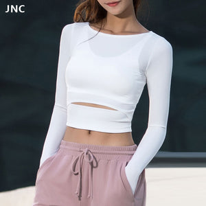 JNC Women Gym White Yoga Crop Tops