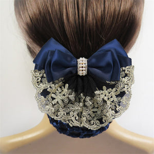 Stylish Floral Lace Satin Bow Barrette