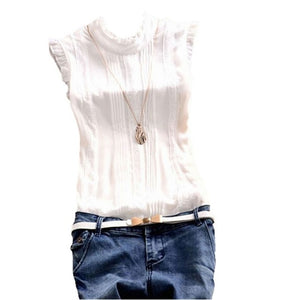Women Ruffle Sleeve Neck Slim Fitted Shirts Lady Blouse