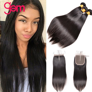GEM Beauty 3 Bundle Brazilian Straight Human Natural Hair Weave