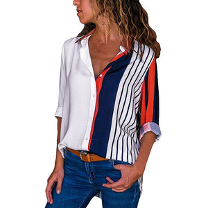 Women's Striped Print Shirt Casual Cotton